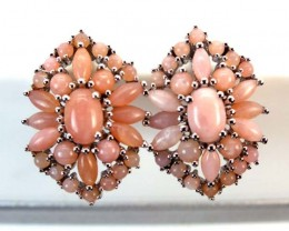 PERU PINK OPAL EARRING CLUSTER-SILVER   39.90 CTS  0F-242