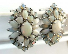 WHTE OPAL EARRING CLUSTER-SILVER 35.15  CTS   OF-243