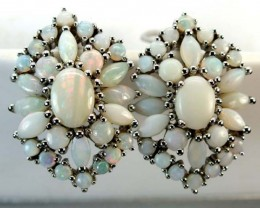 WHTE OPAL EARRING CLUSTER-SILVER  38.45 CTS   OF-244