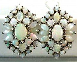 WHTE OPAL EARRING CLUSTER-SILVER 37.45  CTS   OF-245