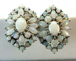 WHTE OPAL EARRING CLUSTER-SILVER  36.35 CTS   OF-247