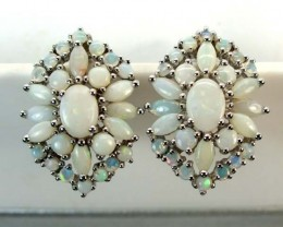 WHTE OPAL EARRING CLUSTER-SILVER  37.10 CTS   OF-248