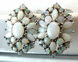 WHTE OPAL EARRING CLUSTER-SILVER  36.75 CTS   OF-250