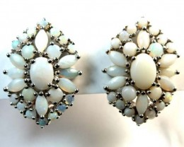 WHTE OPAL EARRING CLUSTER-SILVER  35.95 CTS   OF-220