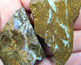 1.85 OUNCES 2 PIECES BOULDER OPAL SLAB ROUGH FROM THE SAW