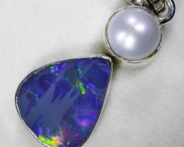 Opal Doublet & Pearl Pendants