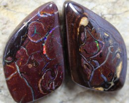36.80 CTS MATCHING YOWAH OPAL PAIR RED VEINS C2522
