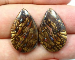 PAIR OF YOWAH OPALS WITH RED FLASHES