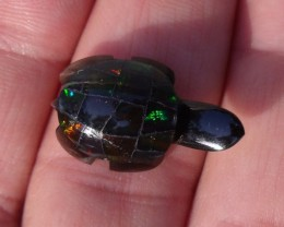 HAND CARVED OBSIDIAN TURTLE WITH MEXICAN OPAL SHELL
