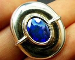 BLUE BLACK  OPAL SILVER  PENDANT  PL741