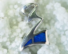 Z BLUE OPAL INLAY   SILVER  PENDANT WITH CZ PL747