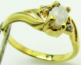 crystal Opal set in Gold plated Silver ring size5  PL 758
