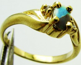 Solid Opal set in Gold plated Silver ring size 5 PL 764