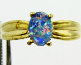 Doublet Opal set in Gold plated Silver ring size 6.5 PL 765