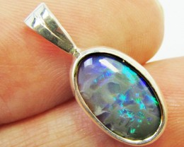 Solid Black Opal set in Silver Pendant   PL 821