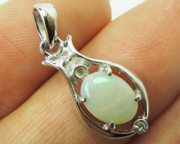solid opal  Opal set in Silver Pendant   PL 824