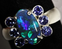 9.5 SIZE SOLID OPAL AND 6 TANZANITES [SOJ3149]SH