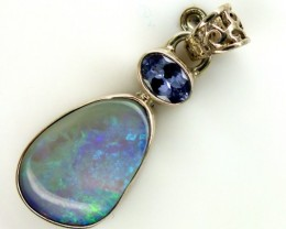 CRYSTAL SOLIDOPAL TANZANITE SILVER PENDANT 12.20 CTS OF-292