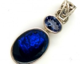 BLACK SOLIDOPAL TANZANITE SILVER PENDANT 11.25  CTS OF-293