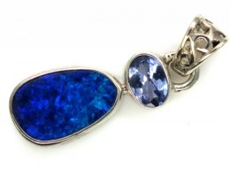 DOUBLET OPAL TANZANITE SILVER PENDANT 9.80 CTS OF-295