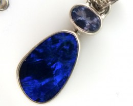 OPAL -DOUBLET TANZANITE SILVER PENDANT 11.10  CTS OF-296