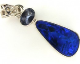 DOUBLET OPAL TANZANITE SILVER PENDANT 11.95 CTS OF-297