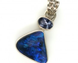 SOLID OPAL TANZANITE SILVER PENDANT 11.60 CTS OF-301