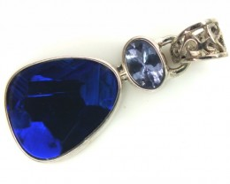 OPAL TANZANITE SILVER PENDANT 11.90  CTS OF-302
