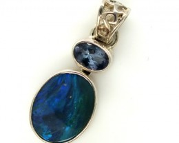 SOLID OPAL TANZANITE SILVER PENDANT10.35 CTS OF-303