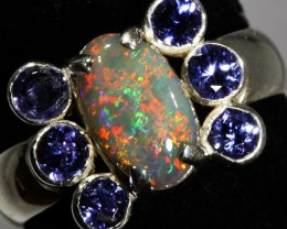 9 SIZE  SOLID OPAL WITH 6 TANZANITES FACTORY  [SOJ3541 ]