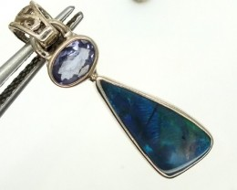 SOLID OPAL TANZANITE SILVER PENDANT 9.30CTS OF-307