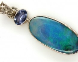 BLACK SOLID OPAL TANZANITE SILVER PENDANT 13.75 CTS OF-308