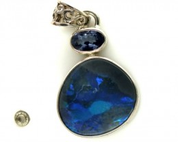 SOLID OPAL TANZANITE SILVER PENDANT 13.85  CTS OF-311