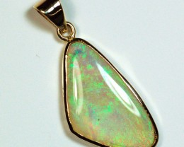 Solid Lightning Ridge opal solid 18K gold pendant