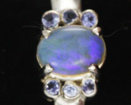 8 RING SIZE OPAL+TANZANITE SILVER -FACTORY DIRECT [SOJ3562 ]
