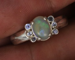 8.5RING SIZE OPAL+TANZANITE SILVER -FACTORY DIRECT [SOJ3563]