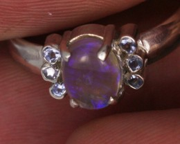 7.5 RING SIZE OPAL+TANZANITE SILVE -FACTORY DIRECT [SOJ3571]