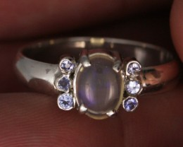 9 RING SIZE OPAL+TANZANITE SILVER -FACTORY DIRECT [SOJ3570]