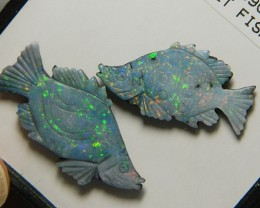 FISH CARVINGS 2 PCS - DOUBLET 12.59 CTS (SW11)