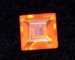 .3ct Orange/Red Faceted Square Mexican Jelly Opal (MO98)