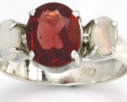 9 RING SIZE RED GARNET SOLID OPAL RING [SOJ3061]