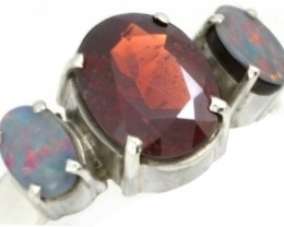 9 RING SIZE RED GARNET +DOUBLET OPAL RING [SOJ3663]