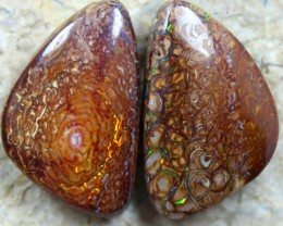 red orange fire in this pair of yowah opals