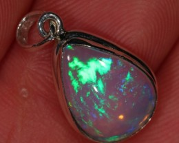 Ethiopian Welo Crystal Opal Pendant Sterling Silver Necklace