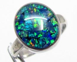 Gem Triplet Mosaic silver ring Size 10 PL 913