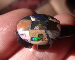 Hand Carved Obsidiant turtle opal shell.