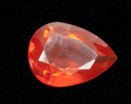 2.5ct Faceted Dark-Orange Pear Mexican Fire Opal (MO189)