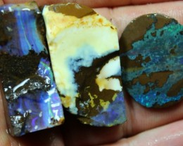 137 CTS 3 PCS BOULDER OPAL PRE SHAPED FOR EASY CUTTING