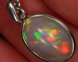 RARE!! Ethiopian Welo Opal Sterling Silver Pendant. Fire.