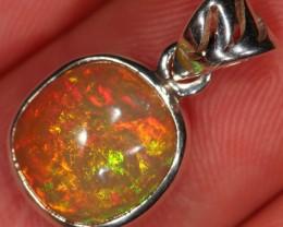 Ethiopian Welo Opal Sterling Silver Pendant. Fire. Necklace.